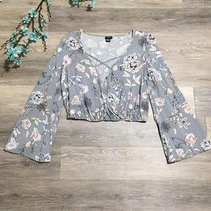 2/$20 Rue21 Floral Wrap Bell Sleeve Cropped Top
